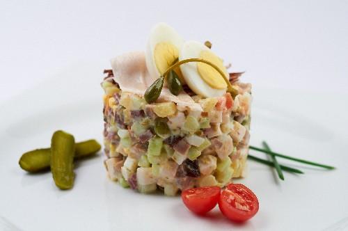 Пошаговый рецепт салата оливье с мясом говядины