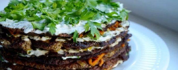 Печеночный торт из говяжьей печени - 9 пошаговых рецептов с фото