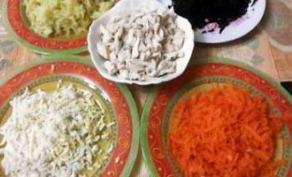 Гранатовый браслет салат пошаговый