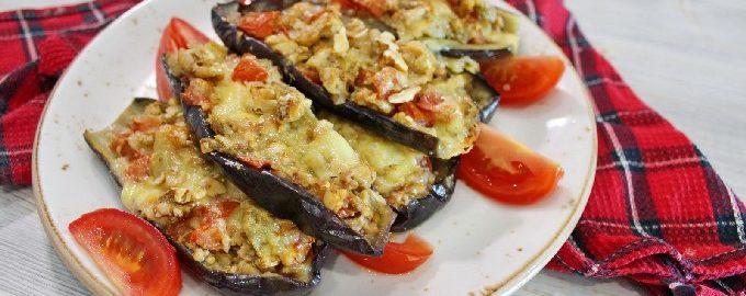 Баклажаны с помидорами и сыром, запеченные в духовке