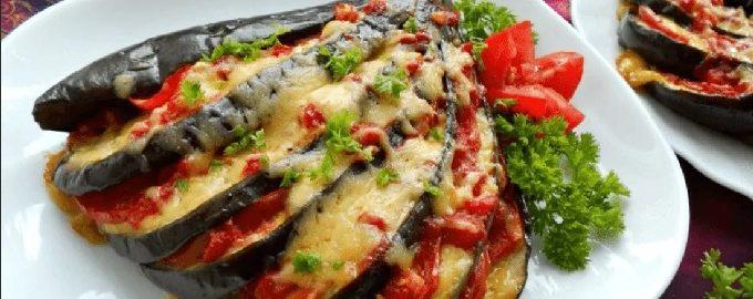 Баклажаны с сыром и помидорами, запеченные в духовке